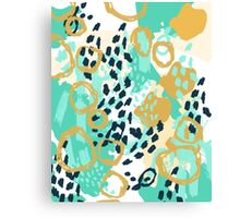 Silas - abstract print in mint, green, mustard navy Canvas Print
