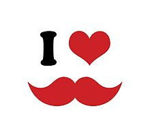 I Heart I Love Red Mustaches by TigerLynx