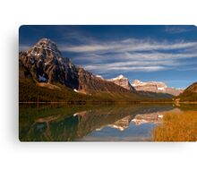 Waterfowl Lakes, reflection, Icefields Parkway NP, Alberta, Canada. Canvas Print