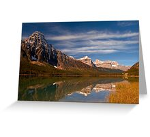 Waterfowl Lakes, reflection, Icefields Parkway NP, Alberta, Canada. Greeting Card