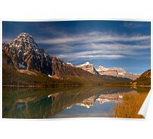 Waterfowl Lakes, reflection, Icefields Parkway NP, Alberta, Canada. Poster