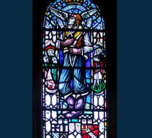 Leadlight window in Rosslyn Chapel, Roslin, Scotland by Bev Pascoe