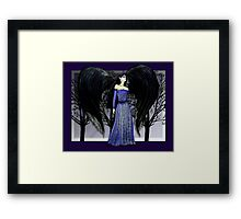 Dark Raven Angel Fantasy art Framed Print