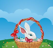 Easter Bunny with Eggs in the Basket 3 by AnnArtshock