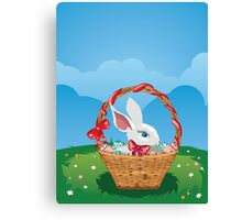 Easter Bunny with Eggs in the Basket 3 Canvas Print