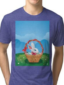Easter Bunny with Eggs in the Basket 3 Tri-blend T-Shirt