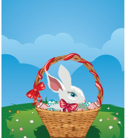Easter Bunny with Eggs in the Basket 3 Sticker