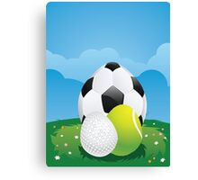Egg Shaped Sport Balls 3 Canvas Print