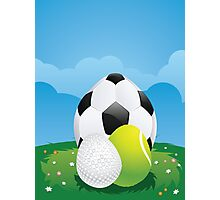 Egg Shaped Sport Balls 3 Photographic Print