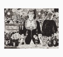 """From a carbon paper trace monotype after Edouard Manet's """"A Bar at the Folies-Bergere."""" One Piece - Short Sleeve"""