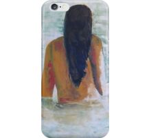 Young woman stepping into lake iPhone Case/Skin