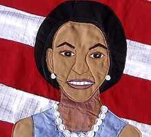 Michelle Obama Wallhanging Outsider Textile Art by evamay