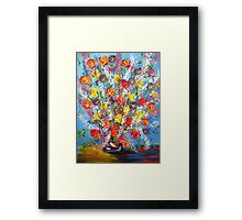Spring has Sprung, abstract floral bouquet, daffodils, spring flowers Framed Print