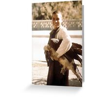 Boy with live bearded vulture, Greeting Card