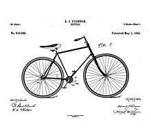 Patent: O Connor, Bicycle - Black Ink Photographic Print