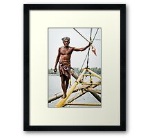 Chinese fishing net operator Framed Print