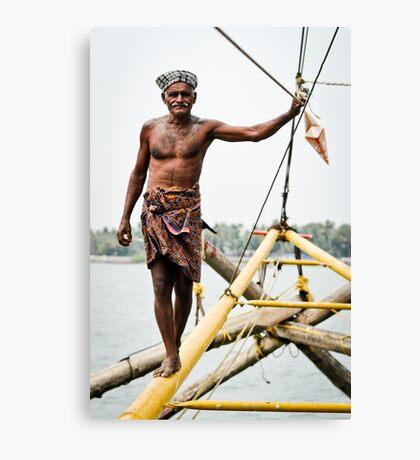 Chinese fishing net operator Canvas Print