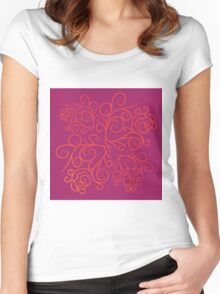 Pink floral ornate Women's Fitted Scoop T-Shirt