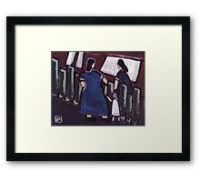 Gossip over the fence Framed Print