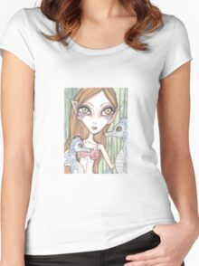 Sea horses and mermaid fantasy art Women's Fitted Scoop T-Shirt