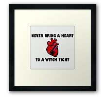 Witch Fight Heart in Black Framed Print