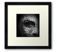 Kate Moss Series 1 - Eye Detail 3 - Words - Black and White Framed Print