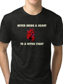 Witch Fight Heart in White Tri-blend T-Shirt