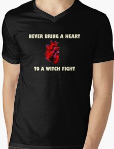 Witch Fight Heart in White Mens V-Neck T-Shirt