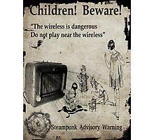 Steampunk Advisory Warning Photographic Print