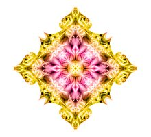 """""""Spirit of India: Cross Fleur Diamond"""" in purple, rose and yellow by FireFairy"""