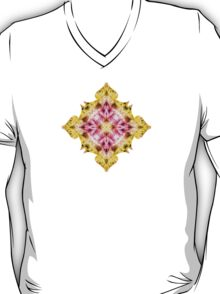 """Spirit of India: Cross Fleur Diamond"" in purple, rose and yellow T-Shirt"
