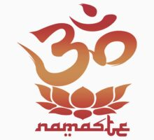 Namaste Symbol with Lotus Flower (red version) by robotface