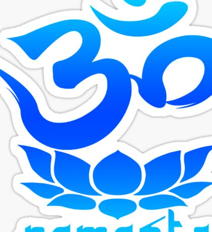 Namaste Symbol with Lotus Flower (blue version) Sticker