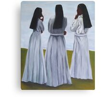 Three sisters or nuns standing in a circle Canvas Print