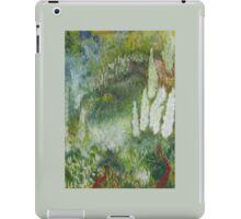 Abstract green landscape with a red path iPad Case/Skin
