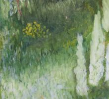 Abstract green landscape with a red path Sticker
