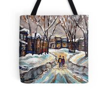 CANADIAN URBAN SCENE PAINTINGS MONTREAL AFTER THE SNOWSTORM ORIGINAL PAINTING FOR SALE Tote Bag