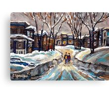 CANADIAN URBAN SCENE PAINTINGS MONTREAL AFTER THE SNOWSTORM ORIGINAL PAINTING FOR SALE Canvas Print
