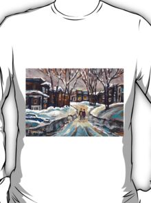 CANADIAN URBAN SCENE PAINTINGS MONTREAL AFTER THE SNOWSTORM ORIGINAL PAINTING FOR SALE T-Shirt