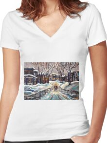 CANADIAN URBAN SCENE PAINTINGS MONTREAL AFTER THE SNOWSTORM ORIGINAL PAINTING FOR SALE Women's Fitted V-Neck T-Shirt