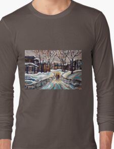 CANADIAN URBAN SCENE PAINTINGS MONTREAL AFTER THE SNOWSTORM ORIGINAL PAINTING FOR SALE Long Sleeve T-Shirt