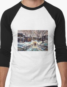 CANADIAN URBAN SCENE PAINTINGS MONTREAL AFTER THE SNOWSTORM ORIGINAL PAINTING FOR SALE Men's Baseball ¾ T-Shirt