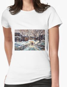 CANADIAN URBAN SCENE PAINTINGS MONTREAL AFTER THE SNOWSTORM ORIGINAL PAINTING FOR SALE Womens Fitted T-Shirt