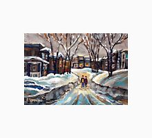 CANADIAN URBAN SCENE PAINTINGS MONTREAL AFTER THE SNOWSTORM ORIGINAL PAINTING FOR SALE Unisex T-Shirt