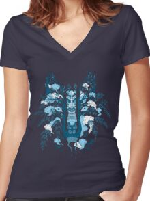 Psychedelic plants and totem wolf Women's Fitted V-Neck T-Shirt