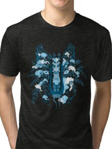 Psychedelic plants and totem wolf Tri-blend T-Shirt
