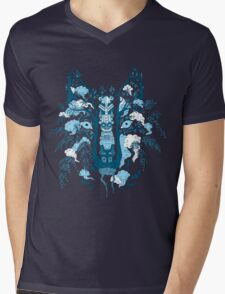 Psychedelic plants and totem wolf Mens V-Neck T-Shirt