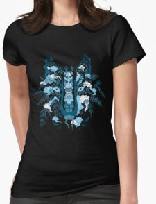 Psychedelic plants and totem wolf Womens Fitted T-Shirt