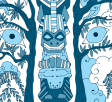 Psychedelic plants and totem wolf Sticker