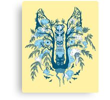 Psychedelic plants and totem wolf Canvas Print